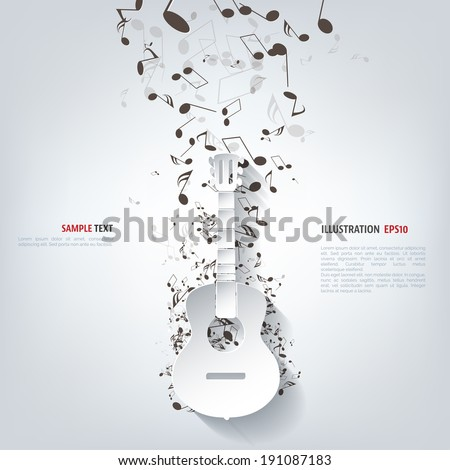 Guitar icon. Music background - stock vector