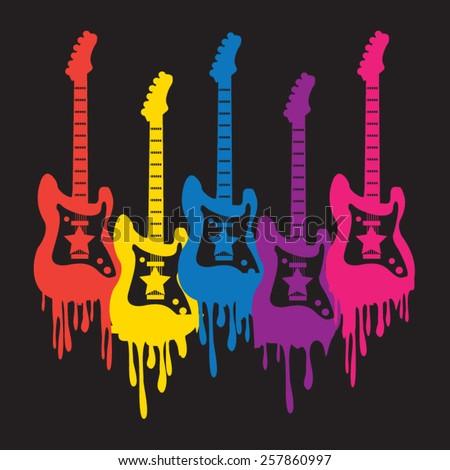 Guitar illustration, t-shirt graphics, vectors, music rock - stock vector