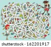 Guitar Maze Game. Solution in hidden layer! Illustration is in eps10 vector mode!  - stock vector