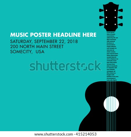 Guitar musical template with space for your type - stock vector