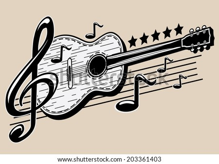 Guitar & notes - stock vector