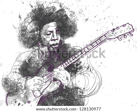 Guitar player in expressive outlines and grungy spots. /// Vector description: contours in shades of gray, black and violet, editable in 5 layers. - stock vector