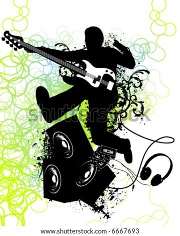 Guitar player jumps - stock vector