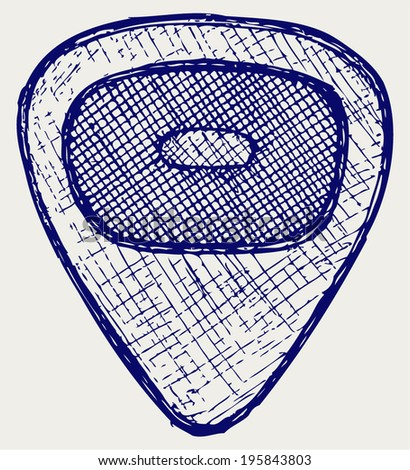 Guitar plectrum. Doodle style - stock vector