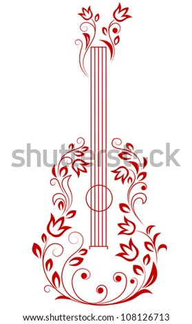 Guitar with floral elements for art or musical design. Jpeg version also available in gallery - stock vector