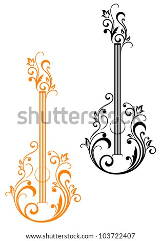 Guitar with floral embellishments for musical design. Jpeg version also available in gallery - stock vector