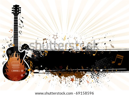 guitar with grunge banner,musical theme illustration - stock vector