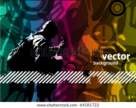 Guitarist grunge background - stock vector