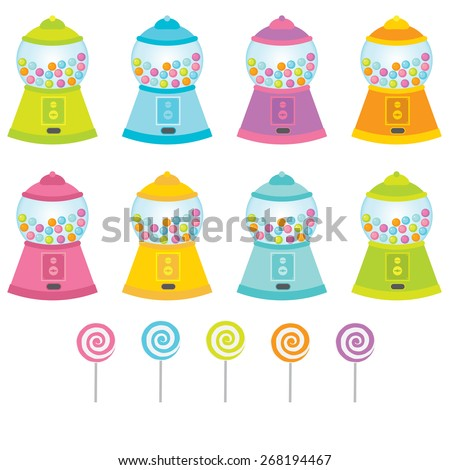 Gumball machine and Lollipop isolated - stock vector