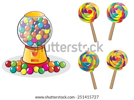 Gumball machine and Lollipop isolated, doodle style - stock vector