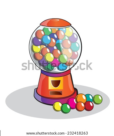 Gumball machine isolated, doodle style - stock vector