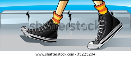 gumshoes steps day - stock vector