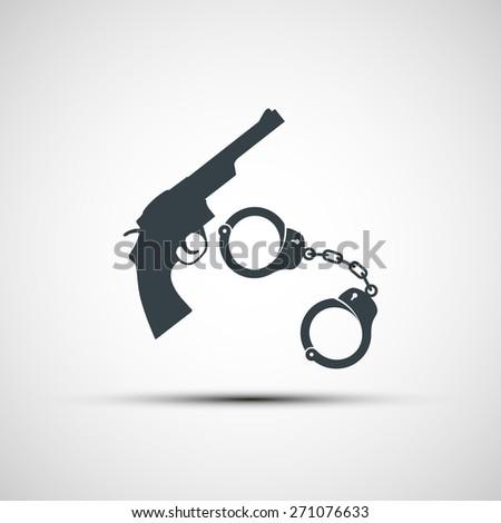 Gun and handcuffs. Vector image. - stock vector