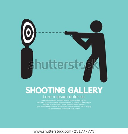 Gun Athlete At Shooting Gallery Symbol Vector Illustration - stock vector