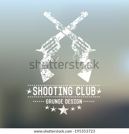 Gun badge,grunge vector - stock vector