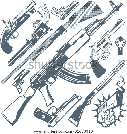 Gun Collection - stock vector