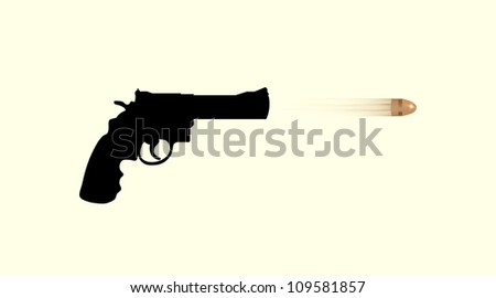 gun firing bullet - isolated illustration - stock vector