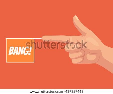Gun hand gesture with bang flag. Vector flat cartoon illustration - stock vector