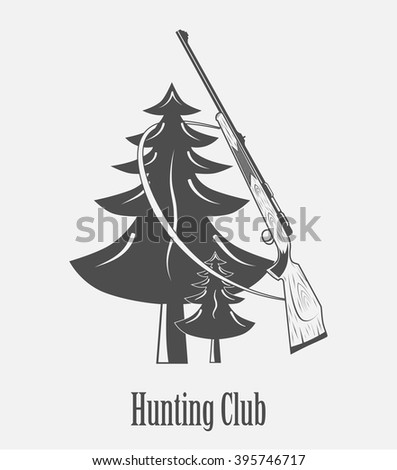 gun hunting club badge on a white background - stock vector