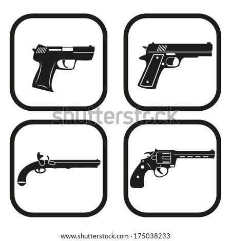 Gun icon - four variations - stock vector