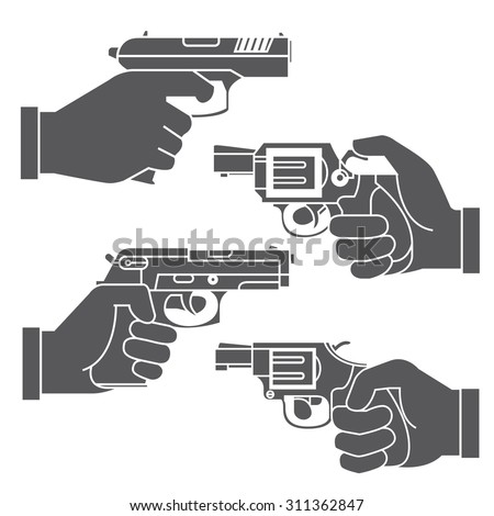 gun icons, hand holding gun - stock vector