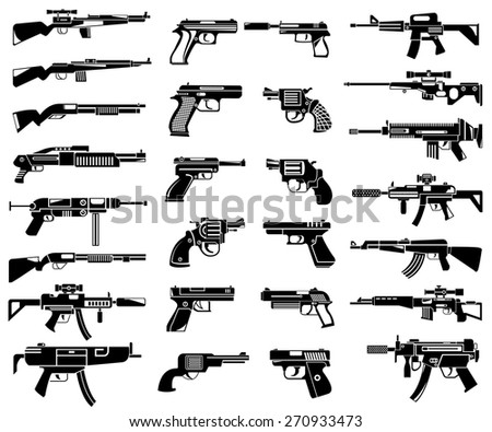 gun icons set - stock vector