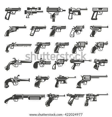 gun icons set, weapon icons - stock vector