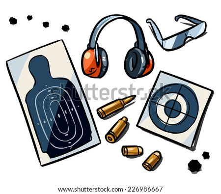 gun range attributes - stock vector