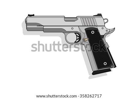 Gun Semi Auto vector - stock vector