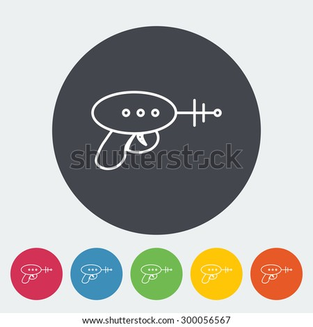 Gun toy icon. Thin line flat vector related icon for web and mobile applications. It can be used as - logo, pictogram, icon, infographic element. Vector Illustration.  - stock vector