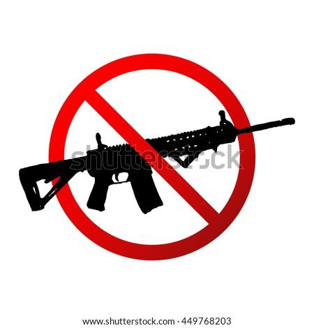 Guns are prohibited sign illustration design over white. - stock vector