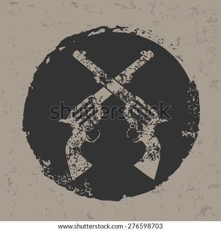 Guns design on grunge background, grunge vector  - stock vector