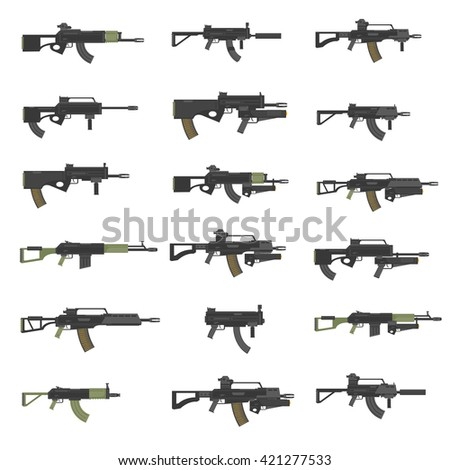 Guns, rifles, submachines, carabines, weapon, firearms, stock vector set. - stock vector