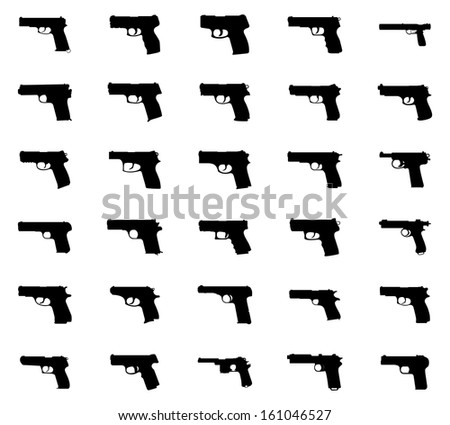 Guns silhouettes set. Isolated on white background. Vector EPS10. - stock vector