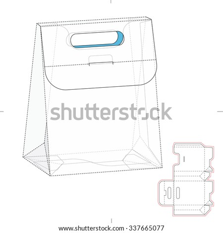 Gusseted Carrier Bag or Box with Die Cut Template - stock vector