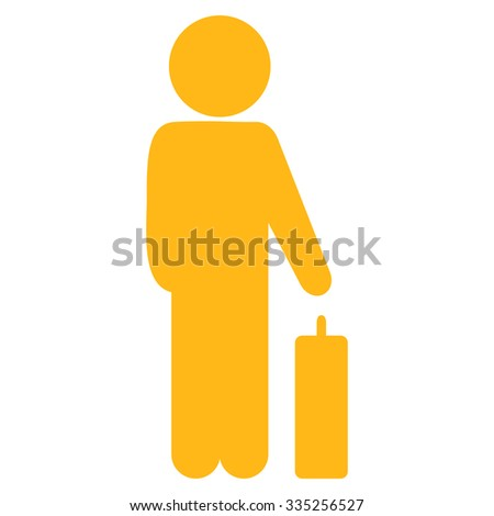Guy Baggage vector icon. Style is flat symbol, yellow color, rounded angles, white background. - stock vector