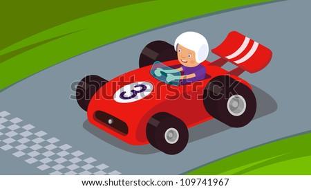 Guy driving a race car to success / Race Car - stock vector