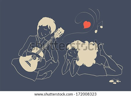 Guy in love playing the guitar for his girlfriend. Illustration, vector - stock vector