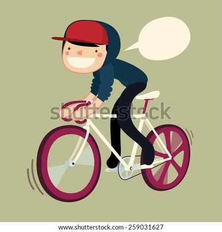 guy riding bike cartoon character. hipster rider saying. vector illustration - stock vector