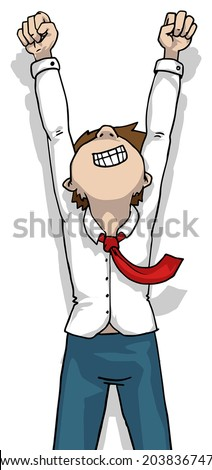 guy with fist up in the air, winner vector illustration - stock vector