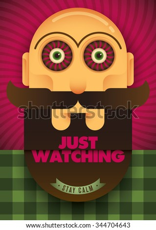 Guy with spooky eyes. Vector illustration. - stock vector