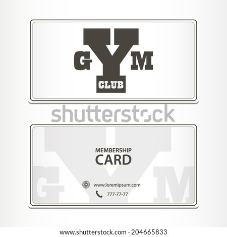 Gym club membership card concept flat grey design illustration stock