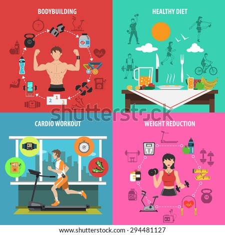 Gym design concept set with bodybuilding healthy diet cardio workout weight reduction flat icons isolated vector illustration - stock vector