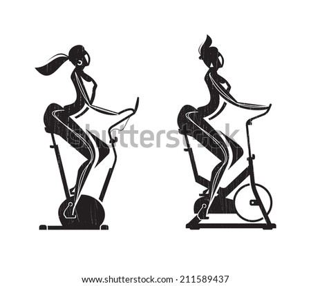 Gym. Exercise Bike. Vector format - stock vector