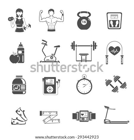 Gym icon black set with treadmill stopwatch dumbbell bike isolated vector illustration - stock vector