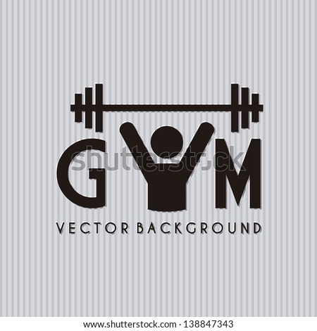 gym symbol over gray background. vector illustration - stock vector