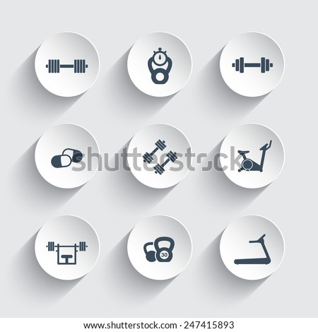 Gym trendy round icons vector illustration, eps10, easy to edit - stock vector