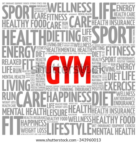 GYM word cloud background, health concept - stock vector