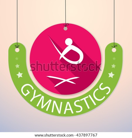 Gymnastics - Colorful Paper Tag for Sports - stock vector