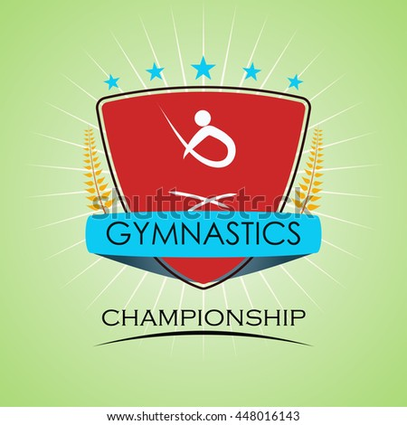 Gymnastics - Winner Golden Laurel Seal with Golden Ribbon - Layered EPS 10 Vector - stock vector